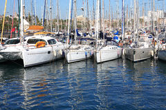 Yacht Anchorage. Big sailboat anchorage at Mediterranean sea stock photos