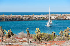Yacht anchored in the Galapagos Stock Photography