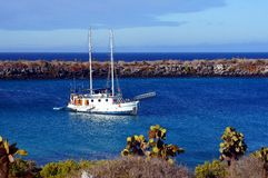 A Yacht Anchored in the Islas Plaza, Galapagos Stock Images