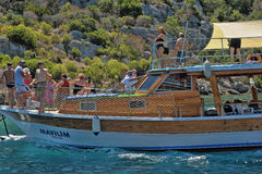 The yacht anchored in Kekova Royalty Free Stock Images