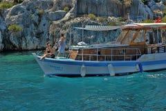 The yacht anchored in Kekova Royalty Free Stock Photos