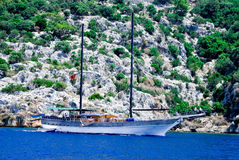 Yacht anchored in Kekova, Turkey. The yacht anchored in Kekova, Turkey stock photo