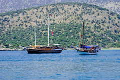 Yacht anchored in Kekova, Turkey Royalty Free Stock Photos