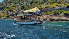 The yacht anchored in Kekova Royalty Free Stock Image