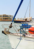 Yacht anchored in a marina. Detail view of a yacht anchored in a marina at Greece Stock Image