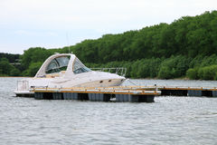 Yacht anchored at marina. Royalty Free Stock Photography