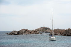 Yacht anchored near Lavezzi island Royalty Free Stock Photography