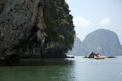 Yacht anchored in Phang Nga Bay Stock Photos