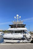 Yacht anchored in Port Pierre Canto in Cannes Stock Photography