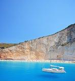 Yacht anchored at Porto Katsiki beach. On the island of Lefkada, Greece stock image