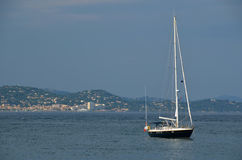 Yacht anchored in St. Tropez harbor Royalty Free Stock Photo