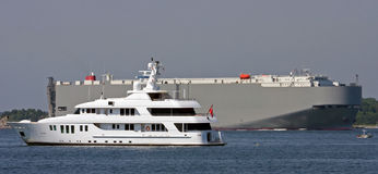 Yacht And Tanker Royalty Free Stock Image