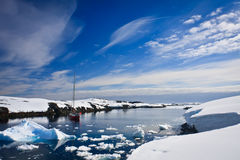 Yacht in Antarctica Royalty Free Stock Photography