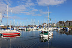 Yacht arriving in Tayport harbour, Fife, Scotland Royalty Free Stock Images