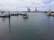 Yacht Arriving. To Dock Yacht Port on Sea Ocean Stock Photos