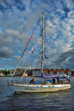Yacht auf dem Neva Lizenzfreie Stockbilder