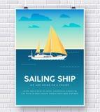 Yacht auf Wasserillustration auf Backsteinmauerhintergrundkonzept lizenzfreie abbildung