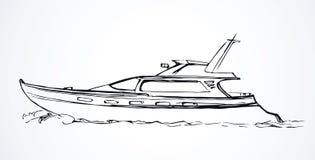 Yacht bakgrund som tecknar den blom- gräsvektorn vektor illustrationer