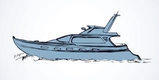 Yacht bakgrund som tecknar den blom- gräsvektorn royaltyfri illustrationer