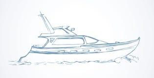 Yacht bakgrund som tecknar den blom- gräsvektorn stock illustrationer