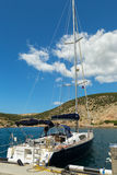 Yacht in the Balaclava Bay. Royalty Free Stock Photo