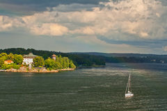 The yacht in Baltic sea. The small yacht near to coast of Baltic sea Stock Images