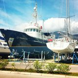 Yacht. Bar montenegro may Stock Image