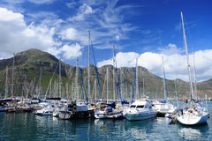 Yacht basin. In Hout Bay Harbor, Cape Town Royalty Free Stock Photography