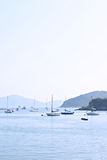 Yacht in bay Stock Image