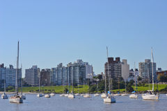 Yacht bay. In the capital of uruguay royalty free stock photo