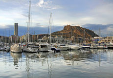 Yacht bay of Alicante Stock Image