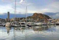 Yacht bay of Alicante. Alicante city in Spain reflection in harbor Stock Image