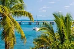 The yacht in the bay of Bahia Honda Key, Florida, US Royalty Free Stock Photos