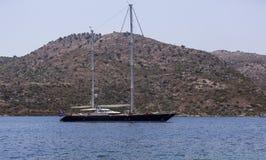 Yacht in the Bay of Bozburun Stock Photos
