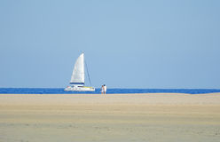 Yacht in the bay Stock Images