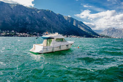 The yacht in the Bay of Kotor. Мontenegro.Balkans.Adriatic Sea Stock Image