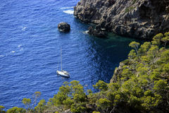 Yacht in the bay of Mallorca Royalty Free Stock Image