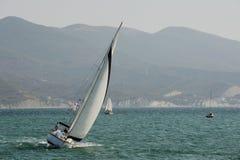 Yacht in the bay of Novorossiysk. Black Sea Russia september 2014 Stock Photos