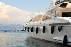 Yacht in bay of Portofino, Italy. Royalty Free Stock Photo