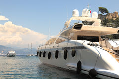 Yacht in bay of Portofino, Italy. Royalty Free Stock Images