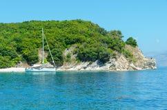Yacht in the bay. Sea Stock Photos