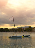 Yacht in the bay. Royalty Free Stock Photo