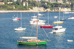 Yacht in the bay of Villefranche sur Mer Stock Image