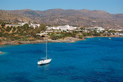 Yacht at the beach of luxury hotel Stock Images