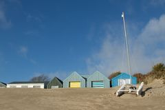 Yacht and beachhuts Stock Photo