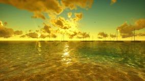 Yacht bei Sonnenaufgang mit Zeitspanne-Wolken, Fliege über Ozean