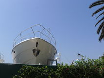 Yacht being restored in Ancon resort. Beautiful view of a yacht being restored in Ancon beach resort of Lima. Ancon is located at 24 miles at the north of Lima Stock Photography