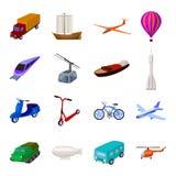 Yacht, bergbana, tunnelbanatransport för trans. av passagerare och last Fastställda samlingssymboler för transport in stock illustrationer