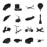 Yacht, bergbana, tunnelbanatransport för trans. av passagerare och last Fastställda samlingssymboler för transport in vektor illustrationer