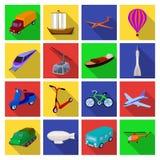 Yacht, bergbana, tunnelbanatransport för trans. av passagerare och last Fastställda samlingssymboler för transport i lägenhet vektor illustrationer